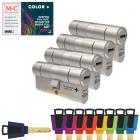 M&C Color plus set van 4 cilinders met 7 sleutels + hotelfunctie + 2 zijdige bediening + paniekfunctie + kerntrekbeveiliging + cilindertrekbeveiliging